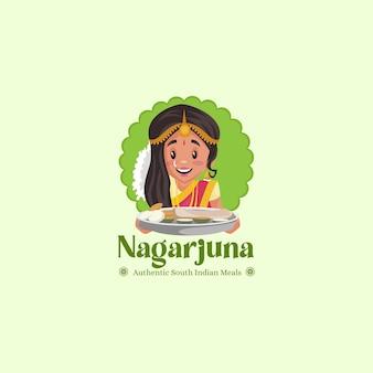 Modèle de logo de mascotte de vecteur de repas indiens du sud de nagarjuna