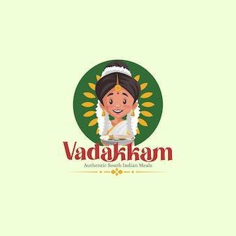 Modèle de logo de mascotte de vecteur de repas indiens du sud vadakkam