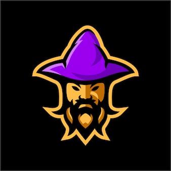 Modèle de logo de mascotte wizard esport