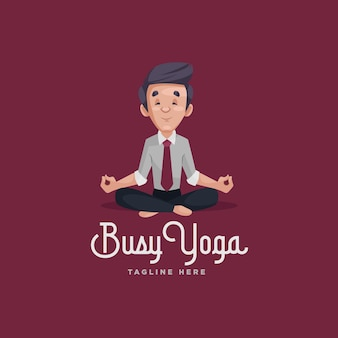 Modèle de logo de mascotte d'yoga occupé