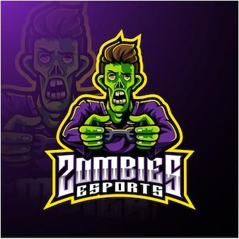 Modèle de logo de mascotte zombie undead