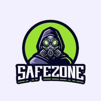 Modèle de logo de mascotte de zone sûre