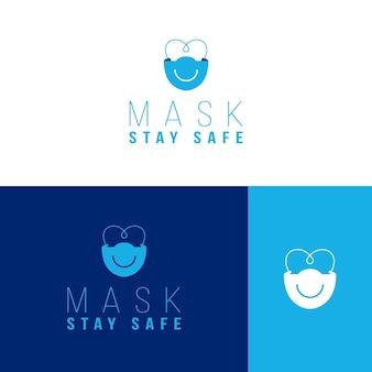 Modèle de logo de masque facial sur différentes couleurs