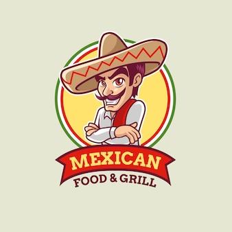 Modèle de logo mec mexicain de dessin animé