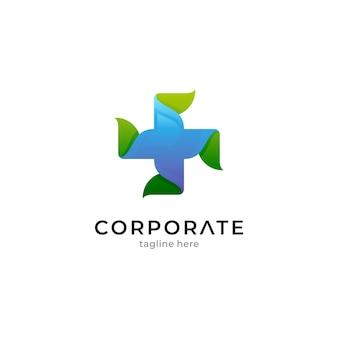Modèle de logo médical avec concept de croix et de feuilles