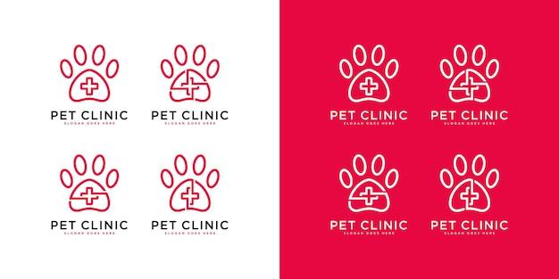 Modèle de logo médical de patte d'animal familier