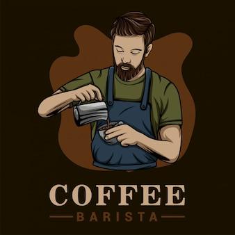 Modèle de logo de mélangeur de café barista