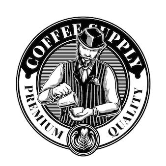 Modèle de logo de mélangeur de café