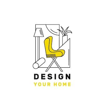 Modèle de logo de meubles avec des éléments minimalistes
