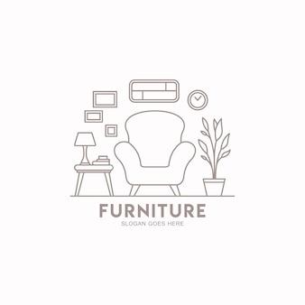 Modèle de logo de meubles de maison