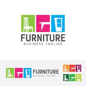 Modèle de logo de meubles et de vecteur intérieur