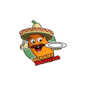 Modèle de logo mexicain hungry