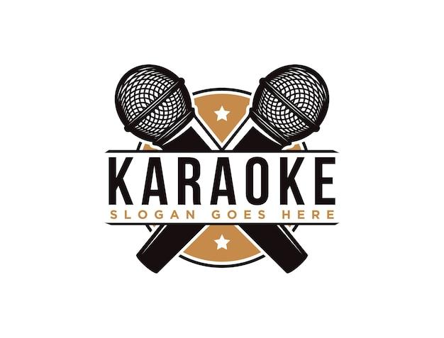 Modèle de logo de microphone karaoké