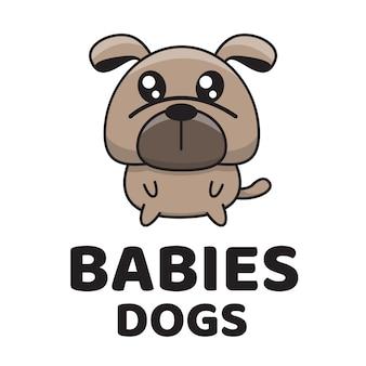 Modèle de logo mignon bébés chiens
