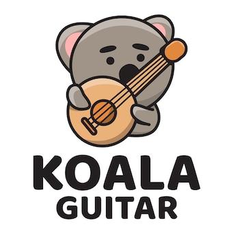 Modèle de logo mignon guitare koala