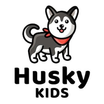 Modèle de logo mignon husky kids