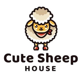 Modèle de logo mignon maison de moutons
