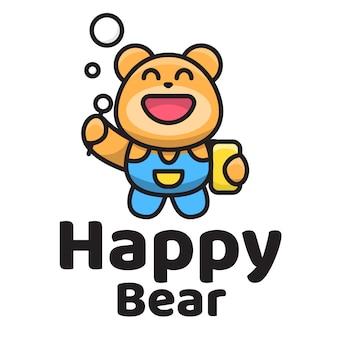 Modèle de logo mignon ours heureux