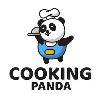 Modèle de logo mignon panda de cuisine