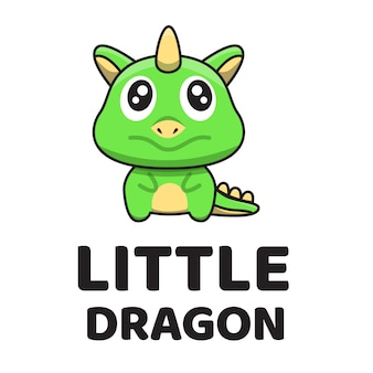 Modèle de logo mignon petit dragon