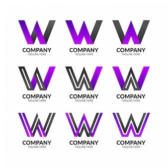 Modèle de logo minimaliste lettre w