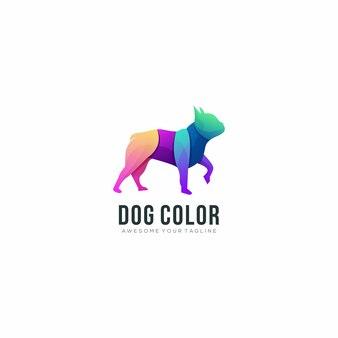 Modèle de logo moderne chien dégradé coloré