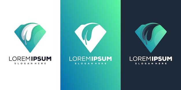 Modèle de logo moderne diamondwith leafe