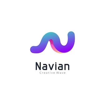Modèle de logo moderne lettre n vague couleur dégradé