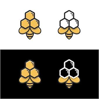 Modèle de logo moderne en nid d'abeille unique