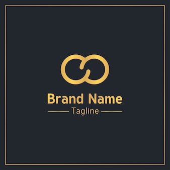 Modèle de logo moderne or signe infini