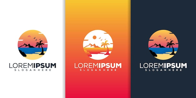 Modèle de logo moderne de plage