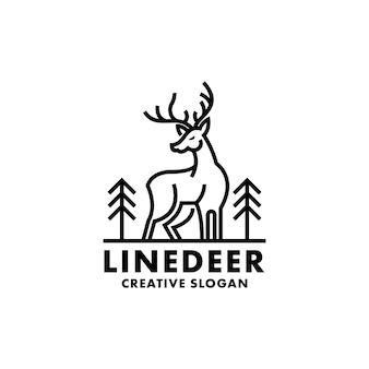 Modèle de logo moderne simple deer line art