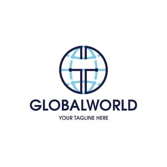 Modèle de logo mondial mondial