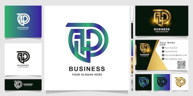 Modèle de logo monogramme apd ou aup minimaliste avec conception de carte de visite