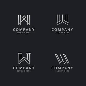 Modèle de logo monogramme initiales w line avec couleur de style argenté pour l'entreprise