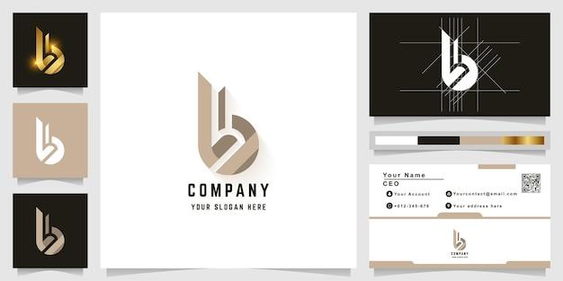 Modèle de logo monogramme lettre b ou bb avec conception de carte de visite