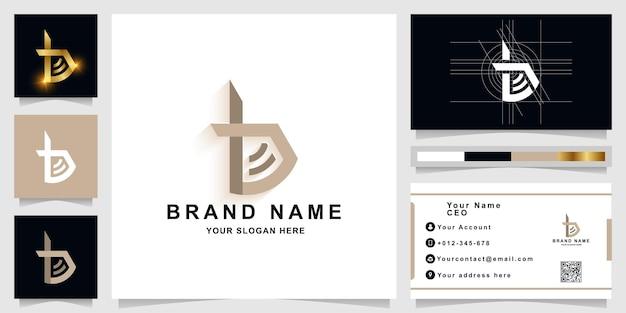 Modèle de logo monogramme lettre b ou tb avec conception de carte de visite
