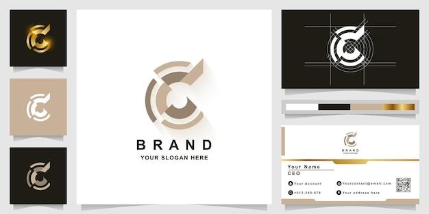 Modèle de logo monogramme lettre c ou cc avec conception de carte de visite