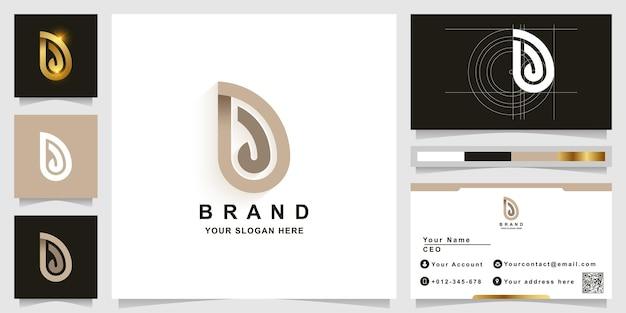 Modèle de logo monogramme lettre d ou dd avec conception de carte de visite