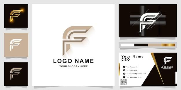 Modèle de logo monogramme lettre f ou ff avec conception de carte de visite