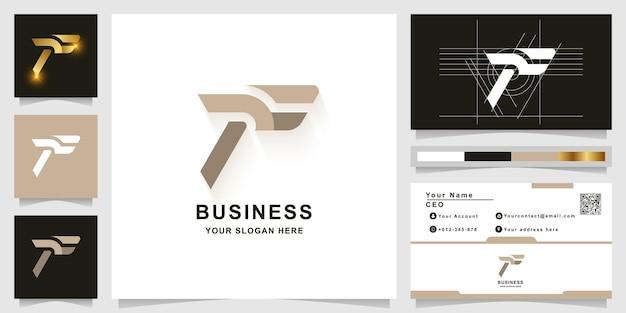 Modèle de logo monogramme lettre f ou tf avec conception de carte de visite