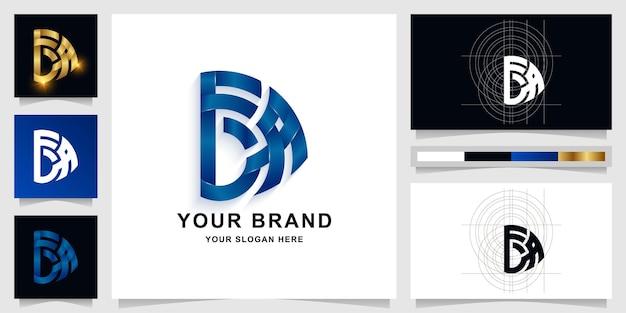 Modèle de logo monogramme lettre fba ou fda avec conception de carte de visite