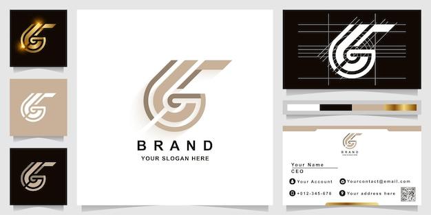Modèle de logo monogramme lettre g ou gg avec conception de carte de visite