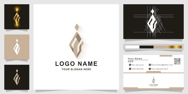 Modèle de logo monogramme lettre i ou ii avec conception de carte de visite