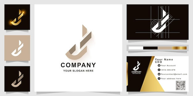 Modèle de logo monogramme lettre j ou d avec conception de carte de visite