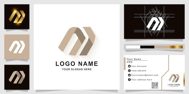 Modèle de logo monogramme lettre m ou ni avec conception de carte de visite