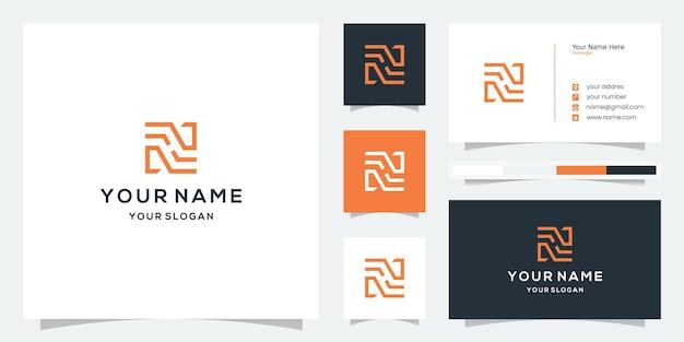 Modèle de logo monogramme lettre n ou h avec conception de carte de visite
