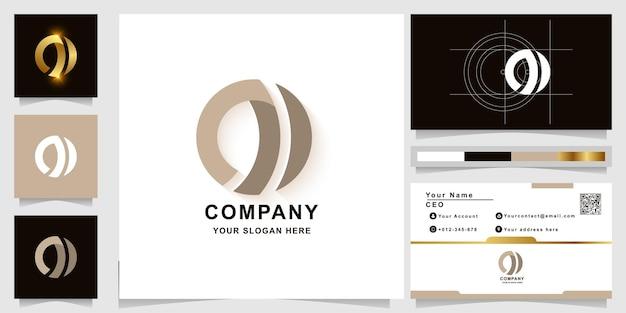 Modèle de logo monogramme lettre n ou o avec conception de carte de visite