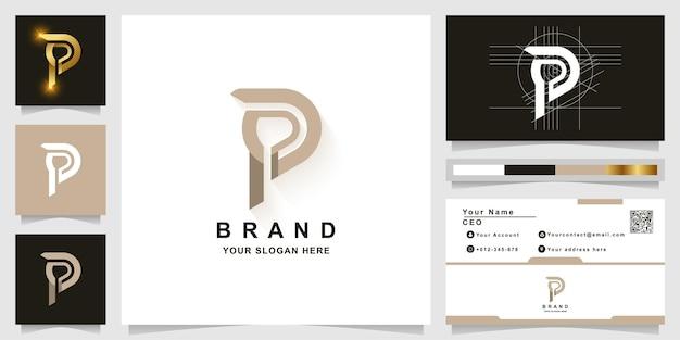 Modèle de logo monogramme lettre p ou pp avec conception de carte de visite
