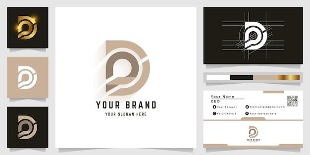 Modèle de logo monogramme lettre d ou pd avec conception de carte de visite